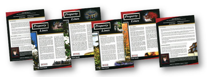 A variety of Property Lines bi-monthly newsletters, included free with every ShowTime subscription